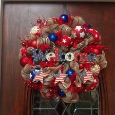 Khaki Red, White and Blue Welcome Wreath by HertasWreaths on Etsy