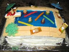 Swimming Pool Cake-shaped like ours with diving board, perfect for the big 18th pool party for Nick,minus the cookie bears, will go to cake store for other decorations