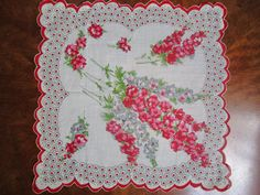 Floral Scalloped Handkerchief Hankie Hanky Red Pink Fushia Grey White by FabulousVintageHats on Etsy