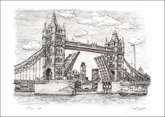 Tower Bridge - drawings and paintings by Stephen Wiltshire MBE Pictures To Draw, Art Pictures, Stephen Wiltshire, Drawing Sketches, Art Drawings, Bridge Drawing, London Drawing, Travel Sketchbook, Watercolor Architecture