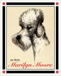 French Poodle Personalized Vintage Bookplate Labels. $15 for set of 18 bookplates.