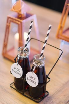 Jack and Coke Treats Photography: Tara McMullen - taramcmullen.com Read More: http://www.stylemepretty.com/living/2014/10/31/scotch-and-cigar-30th-birthday-party/