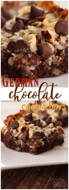 German Chocolate Cookie Bars have a chewy chocolate cookie layer topped with gooey homemade german chocolate coconut frosting. So yummy! via /favfamilyrecipz/