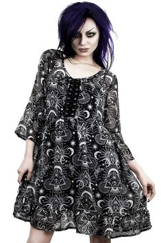 New Moon Babydoll Dress [B] | KILLSTAR Gettin' cosmically down to it, your heart is perfectly in tune with the moon. The 'New Moon' silky-soft chiffon babydoll dress flows as you glow; low neckline with statement corset lace-up front and 3/4 bell-sleeves. Complete with an all-black slip-dress underneath [detachable]. Ideal for summer rituals, festivals and adventures alike - will charge you with an instant magical flow.