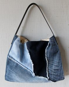 Denim Frayed Patch Slouchy Handbag Tote with Leather Strap, Two Interior Pockets and Lined with a Gray & Cream Paris Inspired Canvas Fabric by AllintheJeans on Etsy