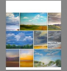 A sample of my cloud paintings at the new Gallery 320. I, so love painting skies!  Can you tell? Yep, I'm a sky painter!
