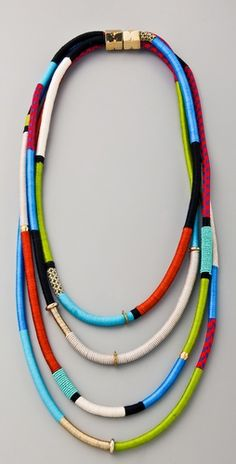 Four strand mixed fabric and metal necklace. By Holst + Lee.