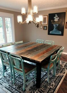 Search for farmhouse table designs and dining room tables now. this modern farmhouse dining room table is the perfect addition to any dining table space. Dining Room Sets, Dining Room Design, Dinning Room Table Diy, Dining Area, 8 Person Dining Table, Teal Dining Chairs, Teal Table, Dining Table Makeover, Diy Dining Room Table