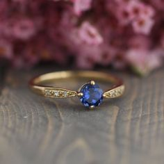 Blue Sapphire Solitaire Ring in 10k Yellow Gold by LuxCrown