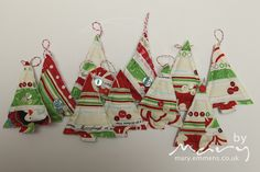 Selvedge Christmas tree decorations by tobit_e, via Flickr