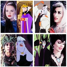 The Evil Queen and the Queens of Darkness - Cruella, Ursula, and Maleficent - with their Disney counterparts
