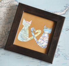 Gift for Him BFF Long Distance Relationship Boyfriend Sister Friend Custom Map Framed Love Cats