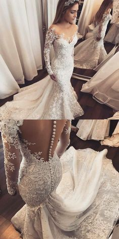 Mermaid Illusion Bateau Long Sleeves Tulle Wedding Dress with Appliques by MeetBeauty, $309.99 USD
