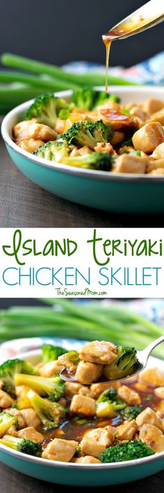 ISLAND TERIYAKI CHICKEN SKILLET This healthy dinner comes together in about 20 minutes with just a few simple ingredients! My Island Teriyaki Chicken Skillet is a clean eating meal that's less than 300 calories -- and the whole family loves it! Clean Eating Chicken, Clean Eating Dinner, Clean Eating Recipes, Healthy Eating, Cooking Recipes, Healthy Food, Cooking Ideas, Healthy Teriyaki Chicken, One Pot Meals
