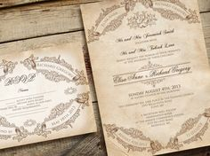 Printable VINTAGE WEDDING INVITATIONS - Anchorage Suite Banners and Frames by Elisa H.