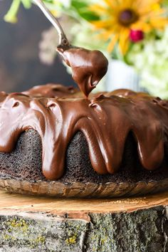 This is hands down the best chocolate bundt cake. Moist, rich, and covered in the best chocolate sour cream frosting, it is our family's absolute favorite! Chocolate Bunt Cake, Chocolate Desserts, Chocolate Frosting, Milk Chocolate Glaze Recipe, Best Chocolate Bundt Cake Recipe, Sour Cream Chocolate Cake, Chocolate Tarts, Chocolate Drizzle, Decadent Chocolate