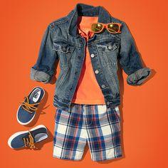 Boys' fashion | Kids' clothes | Denim jacket | Short sleeve polo | Plaid shorts | Sneakers | Wayfarer sunglasses | The Children's Place