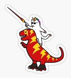 Unicorn Cat Riding Lightning T-Rex Pegatina