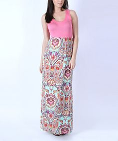 Look at this #zulilyfind! Pink & Mint Paisley Floral Maxi Dress by Collective Rack #zulilyfinds
