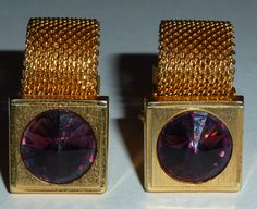 1950s shiny gold plated dark purple crystal chain mesh cufflinks - Only 1 set available
