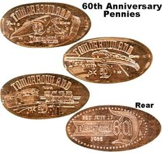 Disneyland 60th Anniversary pressed penny set available at the Star Trader in Tomorrowland. Depicts submarines, monorail, and peoplemover.