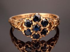 Vintage Gold Sapphire Ring from 1970s Antique by BelmontandBellamy