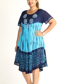 This Shoreline Turquoise Floral Scoop Neck Shift Dress by Shoreline is perfect! #zulilyfinds