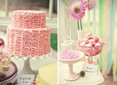 Pink Ruffle Cake and French Macarons