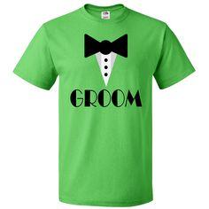 Groom Mock Tuxedo T-Shirt Kelly $18.99 www.bridetobetees.com