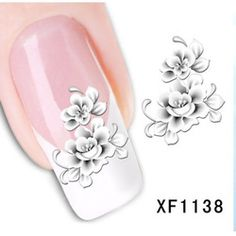 [NR-XF1138]Hot Sale 1 Sheet Water Transfer Nail Art Stickers Decal Elegant Light Blue Peony Flowers Design French Manicure Tools