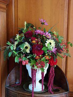 September   Dahlias and amaranthus   Most Curious Rose   Vintage Wedding Flowers Vintage Wedding Flowers, Fall Wedding Flowers, Fall Flowers, Rose Wedding, Amaranthus, Church Flowers, Floral Wreath, Wreaths, Seasons