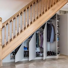 50 Amazing Under Stair Storage Solutions To Spruce Up Your Home - Engineering Discoveries Cabinet Under Stairs, Closet Under Stairs, Space Under Stairs, Stairway Storage, Hallway Storage, Wall Storage, Closet Storage, Home Stairs Design, House Design