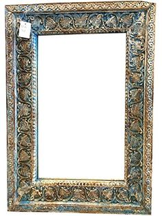 Antique Blue White Patina Carved Mirror Indian Vintage Wall Decor ~ Jaipur Mirror Mogul Interior http://www.amazon.com/dp/B00PUCFKWG/ref=cm_sw_r_pi_dp_.6cWub02D38EK