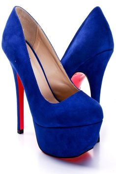Neon Heels Pumps | COBALT BLUE NEON PINK FAUX SUEDE SLANT EDGE PUMPS HEELS | cobalt blue