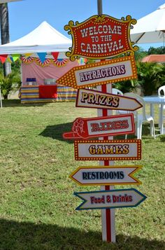 First birthday party games circus theme Ideas Circus Party Games, Carnival Themed Party, Slumber Party Games, Carnival Birthday Parties, Carnival Signs, Kids Carnival, Carnival Games, Themed Parties, Dumbo Birthday Party