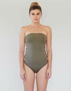 89026a09550 Lehia Bandeau Full Piece in Cherimoya. Acacia Swimwear