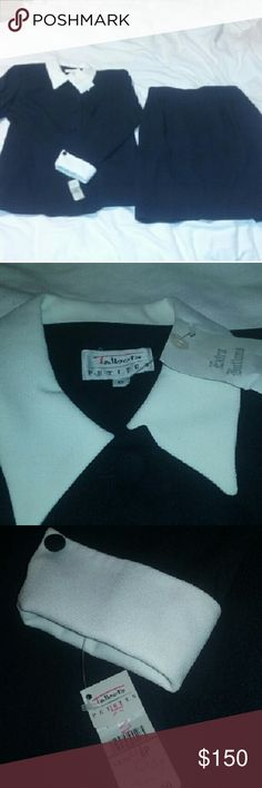 """Talbot's Skirt Suit NWT $220 Navy Cream 6P Brand new with tags. Classic navy blue suit with cream ivory trim. Gorgeous, never out of style. Approx measurements laid flat: Jacket, chest 17"""", length 24"""". Skirt, waist 12"""", length 22"""". Talbots Skirts Skirt Sets"""