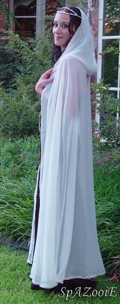 Medieval ivory chiffon wedding cloak bridal renaissance hooded cape. $69.99, via Etsy.