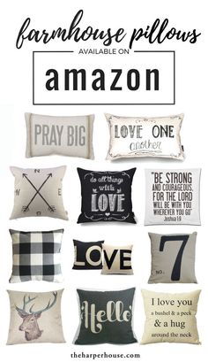 "Affordable farmhouse pillows available on Amazon! Get the Fixer Upper style for your home while shopping in your jammies! Joanna Gaines loves using neutral pillows to create farmhouse style. All the links on the blog | <a href=""http://www.theharperhouse.com"" rel=""nofollow"" target=""_blank"">www.theharperhous...</a>"
