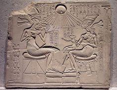 "A ""house altar"" depicting Akhenaten, Nefertiti with three of their daughters by Lenka P,"