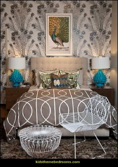 Peacock Themed bedroom | for more decorating ideas and decor also visit :