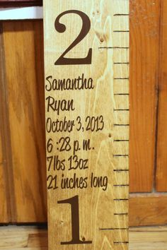 Wooden Growth Chart  child measurements  by RememberedOnceMore