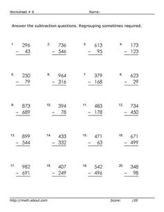 Subtraction Across Zeros Worksheets Grade 3 | ABITLIKETHIS