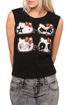 Hello Kitty Kiss Girls Crop Tank Top