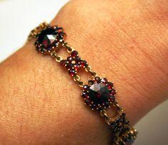 Garnet Bracelet Antique Bohemian Victorian Rose Cut Vintage Red Bracelet Fine Jewelry Jewellery small isj on Etsy, $380.00