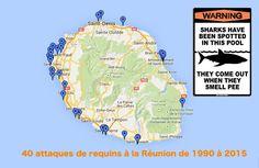 Attaque de requins- 40 Attaques de requins à la Réunion entre 1990 et 2015