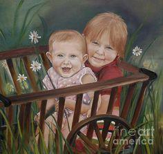 Title  Daisy Girls In Wagon   Artist  Jan Dappen   Medium  Painting - Oil On Canvas