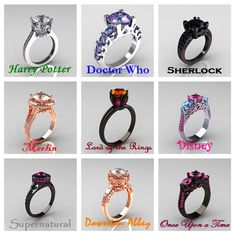 Well since I'm in Harry Potter, Doctor Who, and Sherlock. My favorite on is the Doctor Who one because it's so pretty, and my least favorite is the Sherlock because it is black and reminds me of the black lotus. Fandom Rings, Nerd Rings, 15 Rings, Geek Engagement Rings, Disney Engagement, Fangirl, Accesorios Casual, Ring Verlobung, Geek Culture