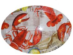 Large Oval Lobster Serving Platters Melamine Plastic plates Nautical Fashion, Nautical Style, Lobster Bake, Crab Shack, Plastic Plates, Pottery Plates, Ocean Themes, Serving Platters, Rooster