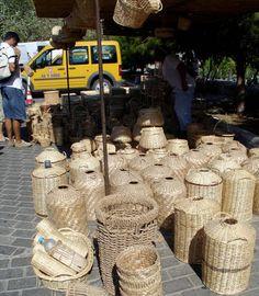 Wicker baskets at the farmer's market